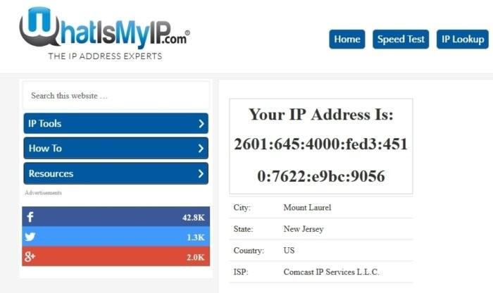 Pokud doma navštívíte internetovou stránku whatismyip.com, zjistíte, jakou veřejnou IP adresu používáte pro připojení vaší domácnosti k Internetu