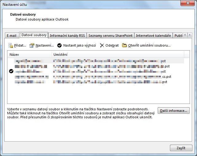 Datové soubory Outlooku