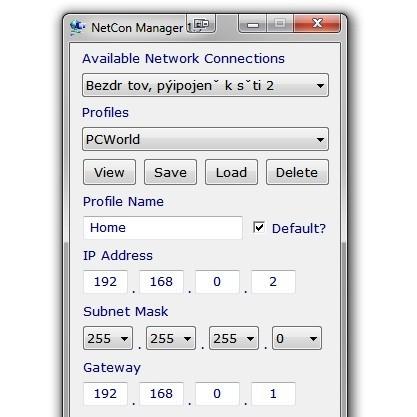 NetCon Manager si pamatujete nastavení IP adres pro každý síťový adaptér