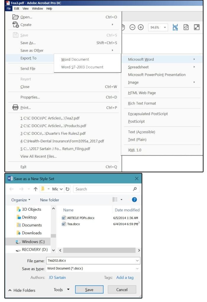 Export dokumentu PDF do dokumentu typu Word