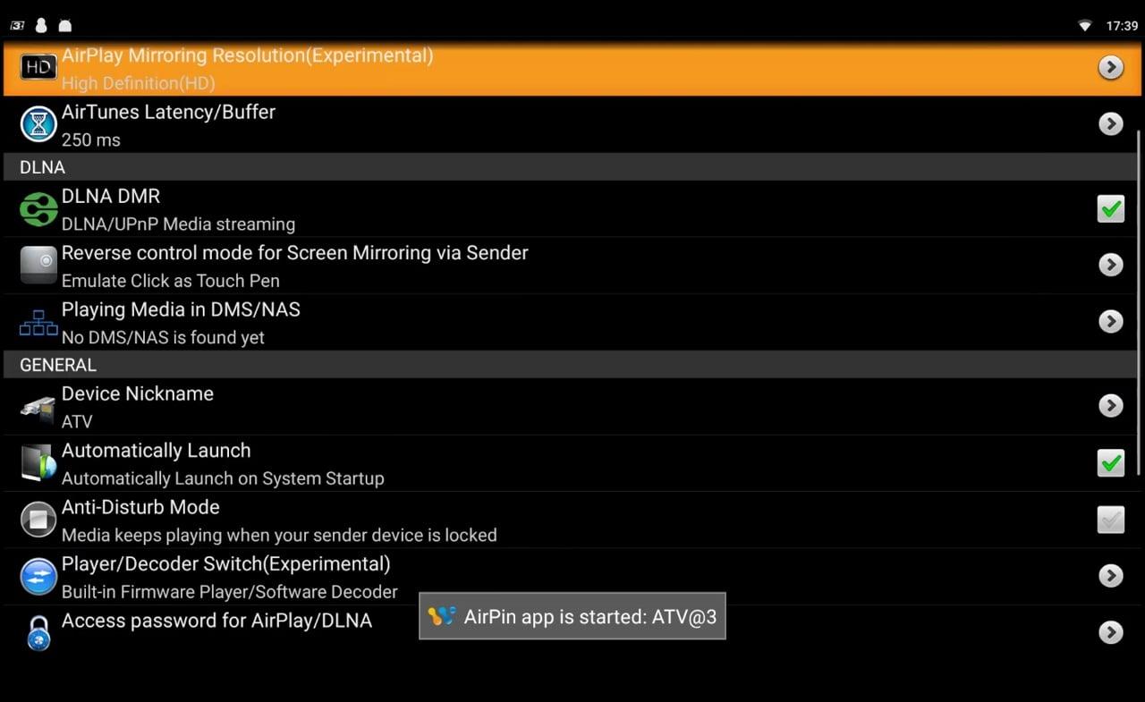 Nastavení AirPlay / DLNA a Miracast