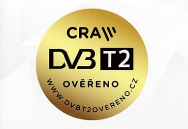 """Logo """"DVB-T2 ověřeno"""" Českých Radiokomunikací."""