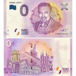 Euro Souvenir bankovka s portrétem Karla Gotta rub a líc
