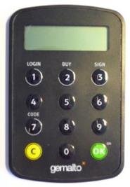 Autentizační kalkulátor Gemalto EZIO ZEN.