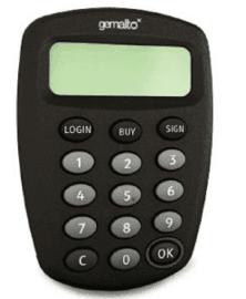 Autentizační kalkulátor Gemalto EZIO GRIP.
