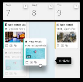 Ukázka plánovacího kalendáře nástroje Hootsuite