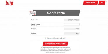 Dobíjení biip karty přes aplikaci, do které mají přístup rodiče.