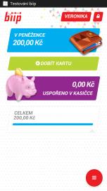Aplikace biip v mobilním telefonu s operačním systémem Android. Stav elektronické peněženky.