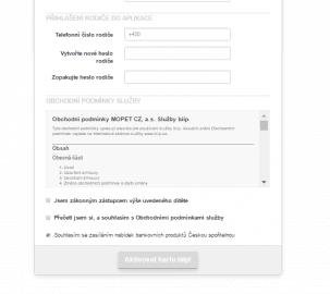 Registrace biip karty – závěrečné potvrzení a aktivace karty.