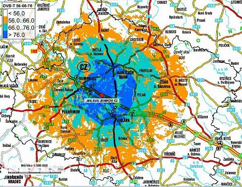 Mapa pokrytí multiplexem 4 z lokality Jihlava - Jeníkov