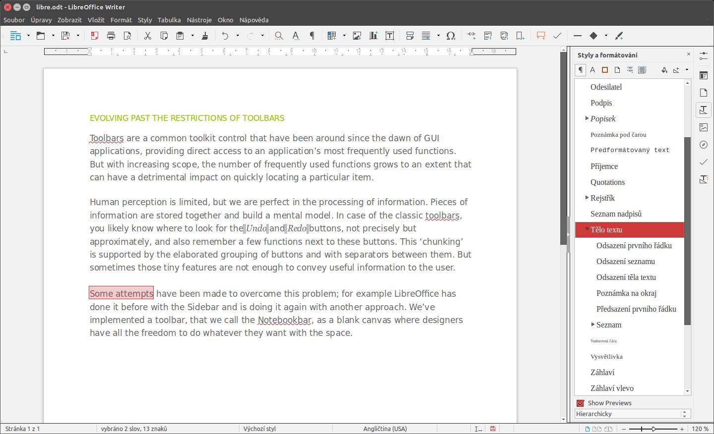 LibreOffice: rozhraní Sidebar