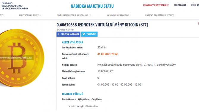 [aktualita] Stát opět draží Bitcoin, na minulé aukci vydělal