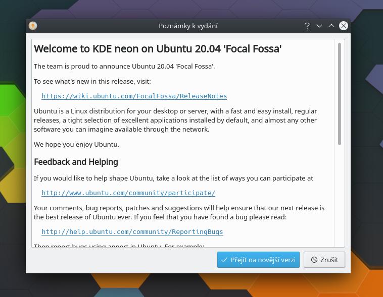 Aktualizace KDE neon ns 20.04 LTS