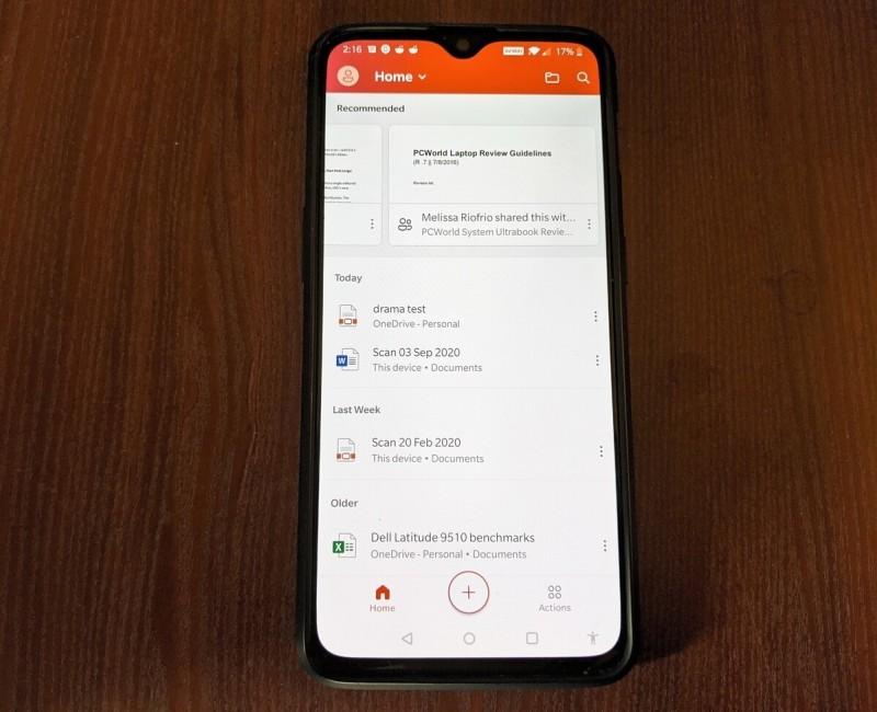 Aplikace Office od Microsoftu pro operační systém Android ukládá seznam vašich nejpoužívanějších dokumentů Office. Přehled všech skvělých funkcí je ukryt v nabídce Akce (Actions).