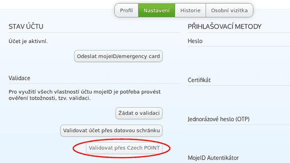 [aktualita] Účet na mojeID lze po datovkách nově zdarma ověřit přes Czech POINT
