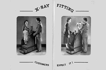 Rentgenové fluoroskopy ke zkoušení bot se v některých obchodech používaly až do 70. let