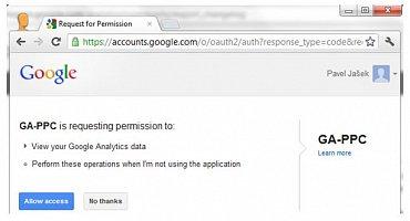 Ukázka povolení přístupu k datům Google Analytics.
