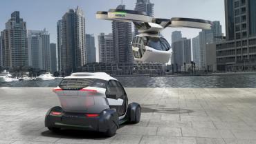 Koncept kapsle, která se umístí na podvozek nebo pod dron