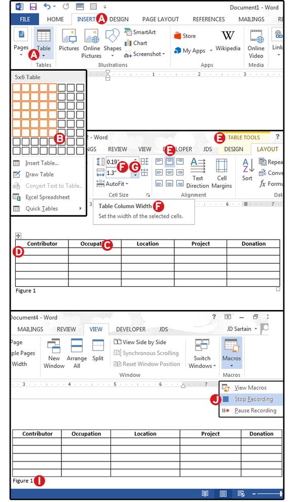 Záznam makra, které vkládá předdefinované tabulky.