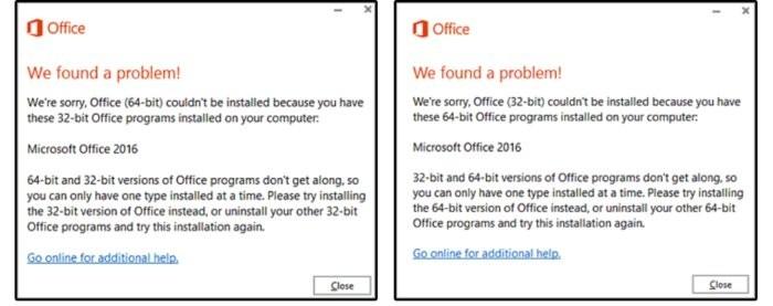 Na jednom počítači nelze vedle sebe používat 32bitovou a 64bitovou verzi Office