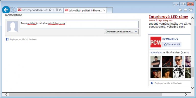 Speckie kontroluje pravopis v Internet Exploreru