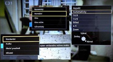 Z levé strany vidíte přednastavené zvukové režimy, nad nimi režimy obrazové a vpravo možnosti úpravy poměrů stran pořadu.