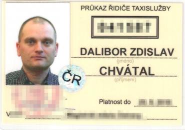 Ukázka průkazu řidiče taxislužby.