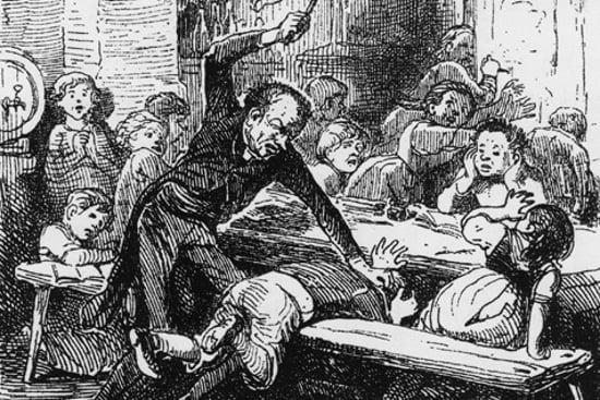 Učitel ve vesnické škole trestá žáka, 1842
