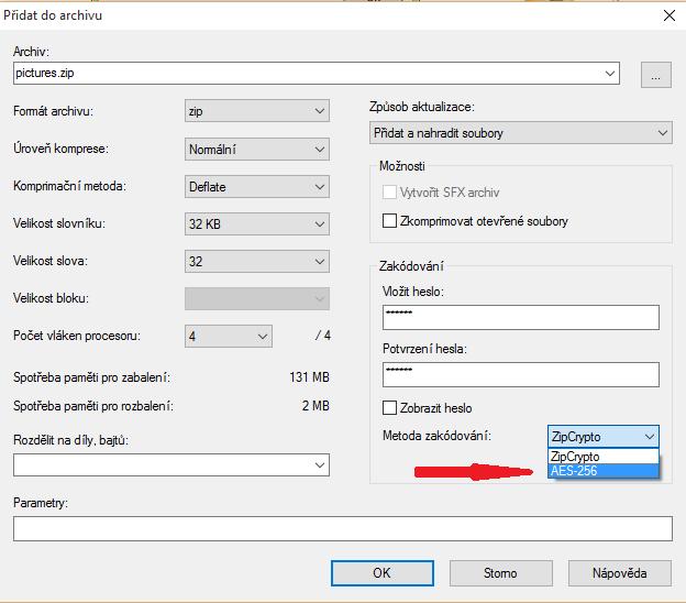 Nastavení šifrování při vytváření archivu ZIP v programu 7-ZIP