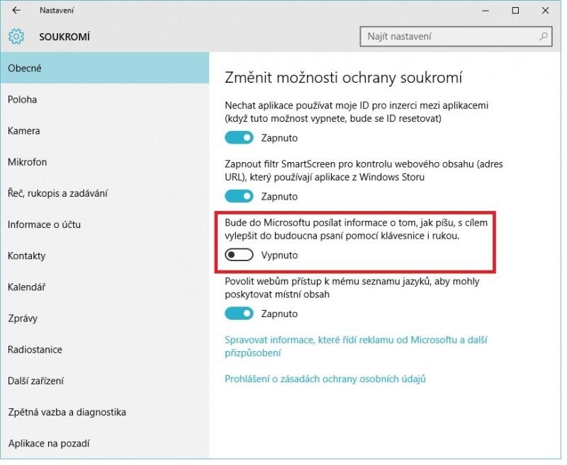 Možnosti ochrany soukromí ve Windows 10