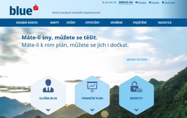 Hlavní stránka webu České spořitelny pro službu Blue.
