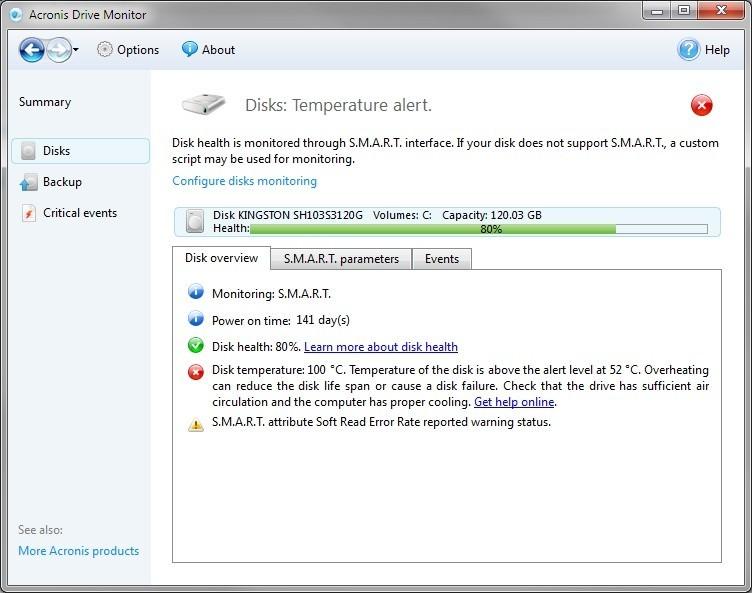 Acronis Drive Monitor pohlídá stav vašeho pevného disku
