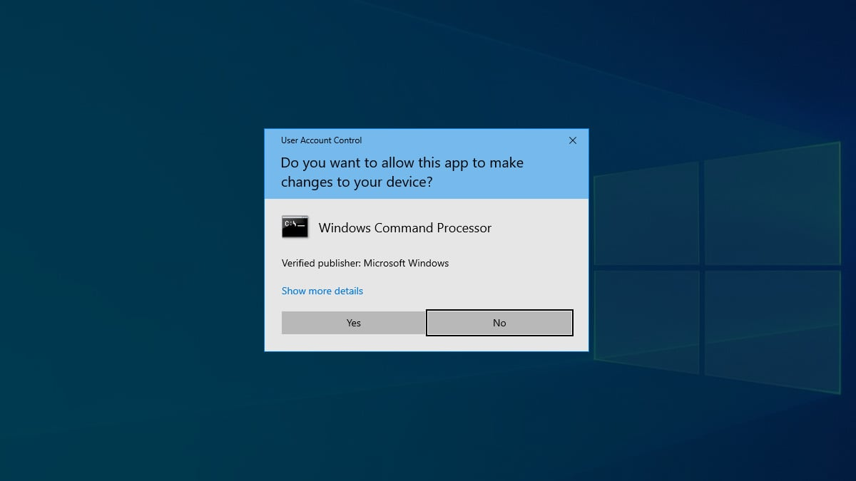 Ukázka dialogového okna nástroje Řízení uživatelských účtů ve Windows 10