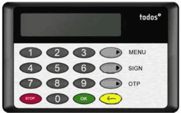 Autentizační kalkulátor Todos eCode 2014 pro čipovou kartu.