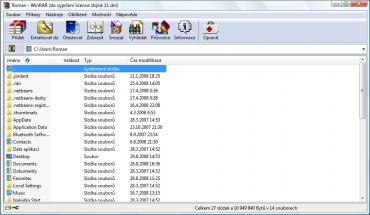 <p>Hlavní okno aplikace WinRAR</p>