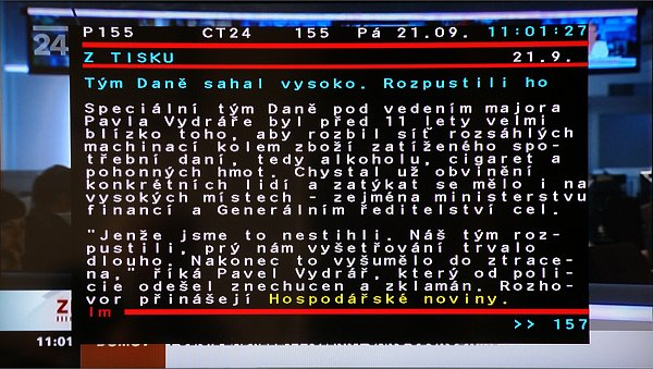 Teletext se zobrazuje ve zmenšeném okně na popředí programu ve dvou režimech průhlednosti.