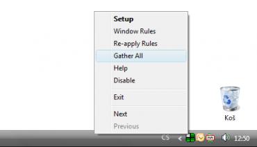 Menu po kliknutí myši na ikony v liště