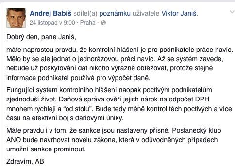 Andrej Babiš o úpravách sankčního režimu u kontrolních hlášení na FB.