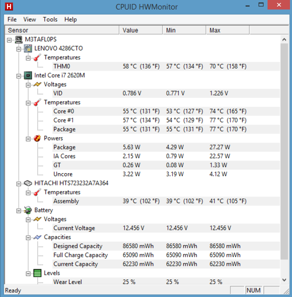 Program HWMonitor vám v reálném čase zobrazí všechny informace, které počítač poskytuje