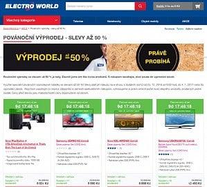 Výprodej byl u Electroworldu označen opravdu důkladně a u většiny položek. Výše slevy je uvedena u konkrétního produktů, výpis podle její výše však možný není.