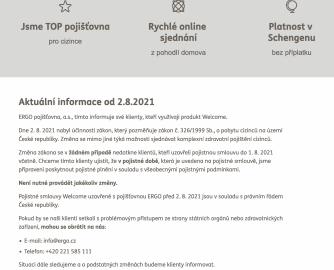 ERGO pojišťovna. Varování o neplatnosti cestovního pojištění pro účely víza. (16. 9. 2021)