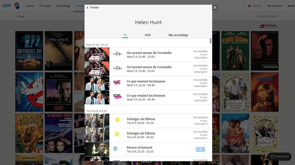 Swisscom TV Air - smart vyhledávání