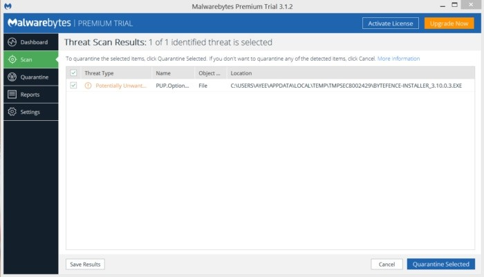 Program Malwarebytes vám zobrazí výsledky testování a umožní vám jedním stiskem tlačítka nalezený malware odstranit