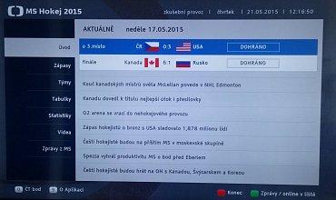Česká televize využívá HbbTV i pro přípravu povedených specializovaných aplikací, třeba k MS v hokeji.