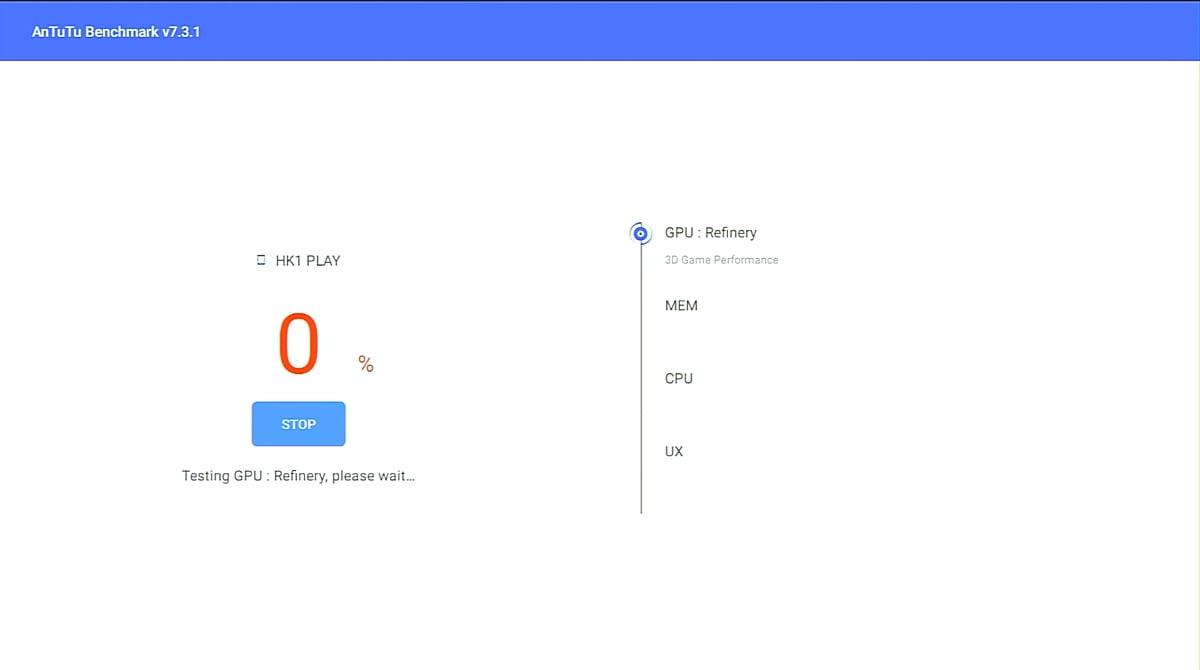 HK1 Play, benchmark AnTuTu (model v konfiguraci pamětí 2/16 GB)