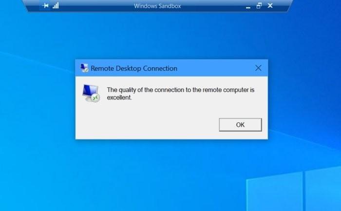 """Když otevřete Windows Sandbox v režimu přes celou obrazovku, uvidíte několik dodatečných ikonek. Klepnutím na ikonku připomínající ukazatel síly signálu u mobilního telefonu se vám zobrazí následující zpráva – zejména proto, že """"vzdálená"""" Windows, k nimž se připojujete, vlastně vůbec vzdálená nejsou."""