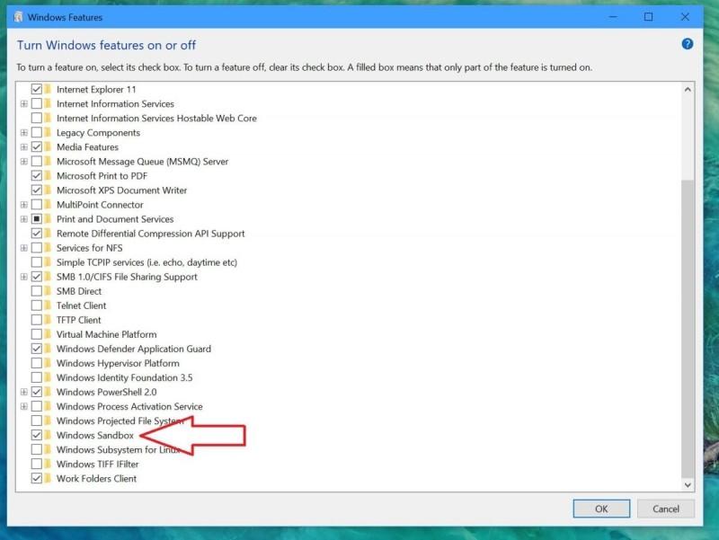 Chcete-li povolit funkci Windows Sandbox, je třeba ji nejprve nainstalovat.