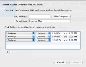 Někde je dokonce možné nastavit přístup k internetu pro každé zařízení (a tedy i pro každého uživatele ve vaší domácnosti) zvlášť. Na obrázku je ukázka AirPort Extreme.