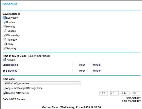 Nastavte v rozhraní pro konfiguraci vašeho směrovače přesně časový interval, kdy bude možné se připojovat k internetu.