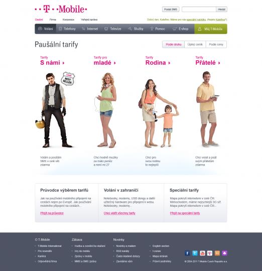 Nový web T-Mobile, Tarify